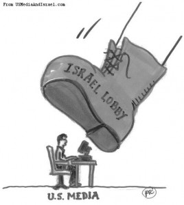 Political cartoon showing the Israel Lobby's boot suppressing U.S.   media